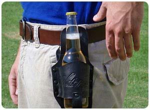 black leather beer holster
