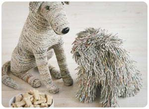 recycled newspaper dogs