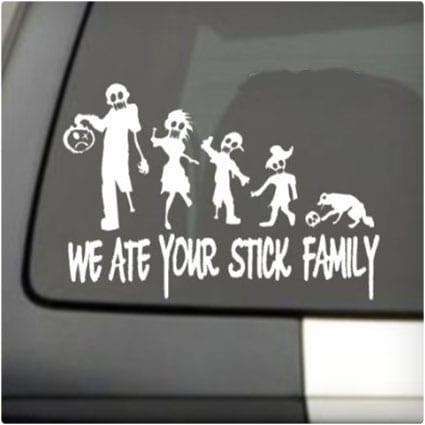 Zombie Family Window Sticker