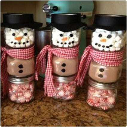Stacked Jar Hot Chocolate Snowmen