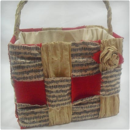 Upcycled Brown Grocery Bag Basket
