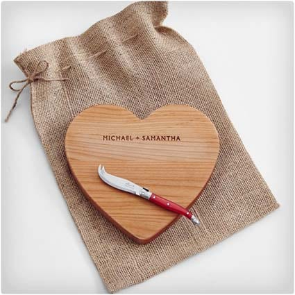 Personalized Heart Shaped Cutting Board Set