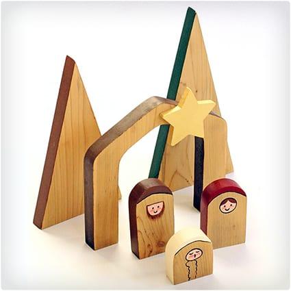 Simple Wooden Nativity Scene