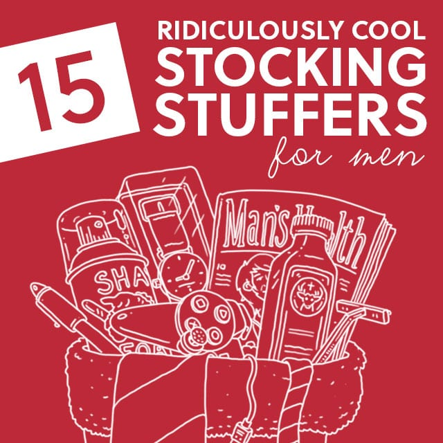 15 Ridiculously Cool Stocking Stuffers for Men- your man will be pleased with these unique stocking stuffers.
