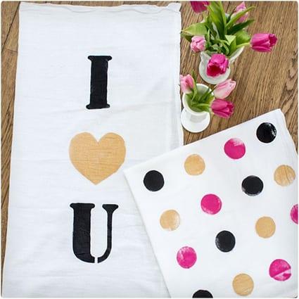 DIY I Love You Kitchen Towel