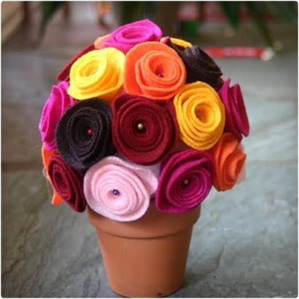 Felt Flower Centerpiece