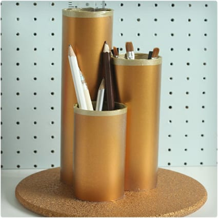 DIY Metallic Desk Tidy