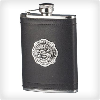 Firefighter Leather Stainless Steel Flask