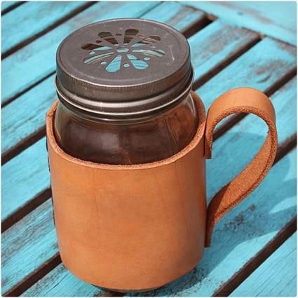 Leather Mason Jar Mug Koozie