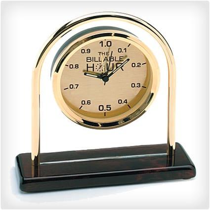 The Billable Hour Brass Clock