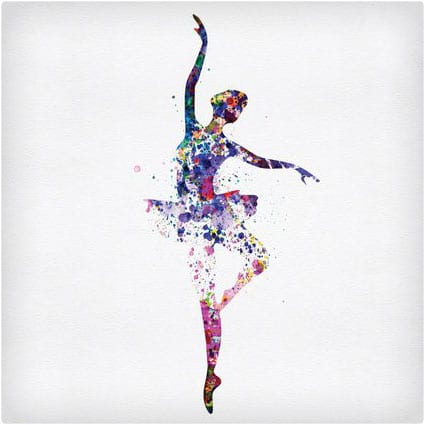 Ballerina Dancing Watercolor 2 Art Poster NaxArt