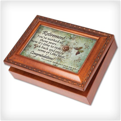 Cottage Garden Retirement Woodgrain Music Box Jewelry Box Plays Amazing Grace
