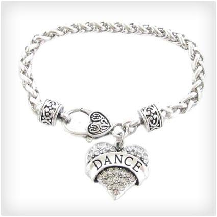 Dance Dance Clear Crystal Heart Silver Bracelet Jewelry Ballet Jazz Drill Team