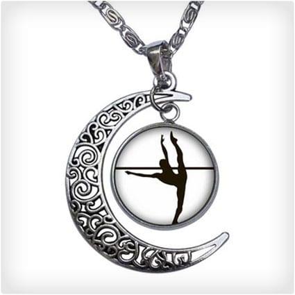 Dance Themes Ballet Dancer Crescent Moon Galactic Universe Glass Cabochon Pendant Necklace