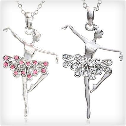 Dancing Ballerina Dancer Ballet Dance Pendant Necklace Charm Set