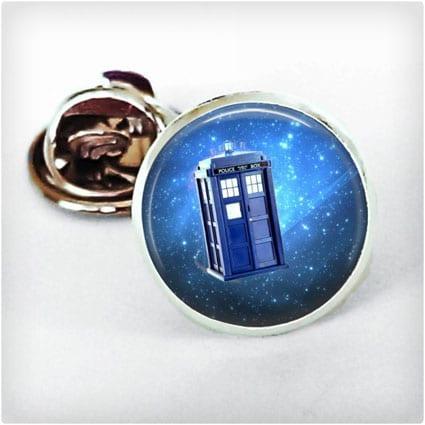 Dr. Who Blue Tardis Silver Tie Tack