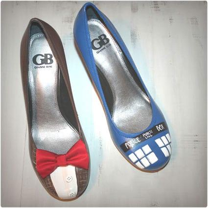 Dr. Who Painted TARDIS Heels