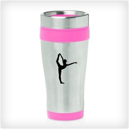 Hot Pink 16oz Insulated Stainless Steel Travel Mug Z1782 Dancer Gymnastics