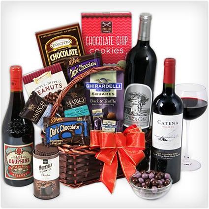 Red Wine and Dark Chocolate Basket