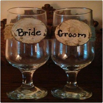 Rustic Wedding Wine Glasses