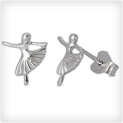 Sterling Silver Ballerina Dancer Stud Earrings