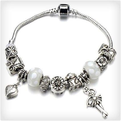 White Murano Glass Heart Ballet Dancer Owl Flower Charms Beaded Bracelets