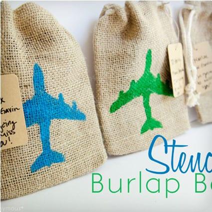 Stenciled Burlap Bags