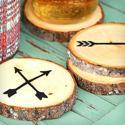 Arrow Wood Slice Coasters
