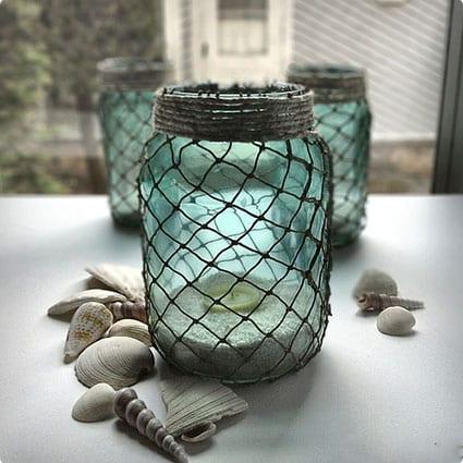Fisherman Netting Wrapped Jars