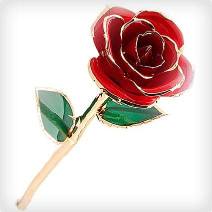 Long Stem 24k Gold Dipped Rose
