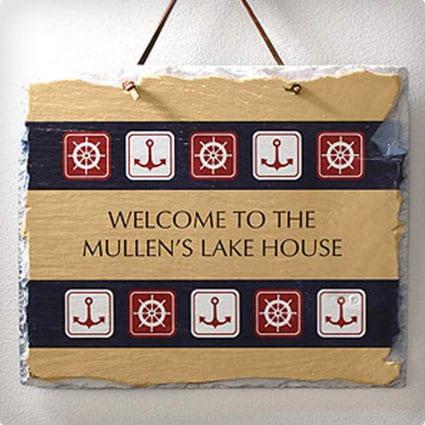 Nautical Welcome Slate Plaque