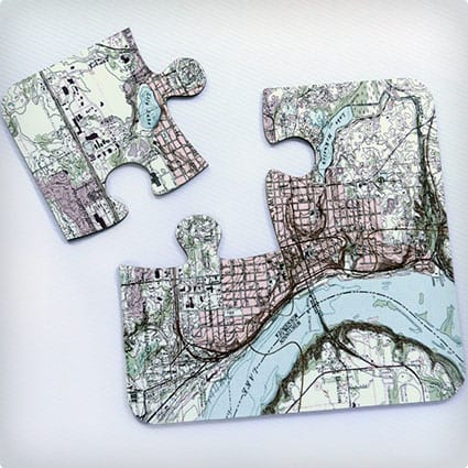 Personalized Vintage Map Coasters