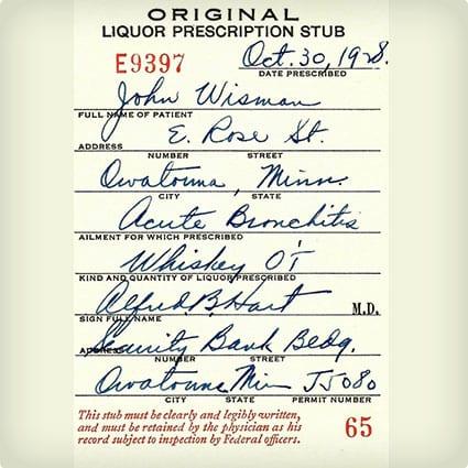 Prohibition Era Whiskey Prescription