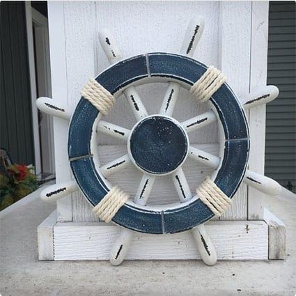 Rustic White and Blue Nautical Ship Wheel