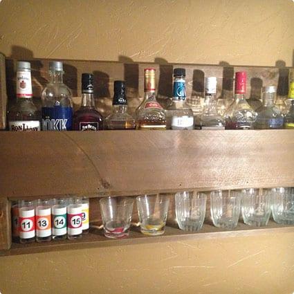 Whiskey Display Rack with Shelf