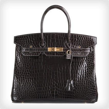 Hermes Graphite Porosus Birkin Bag