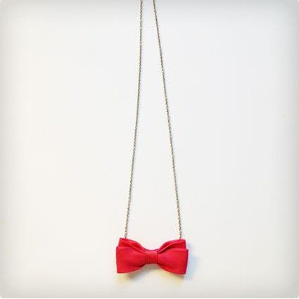 Pink Bowtie Necklace