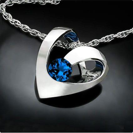 Silver Birthstone Heart