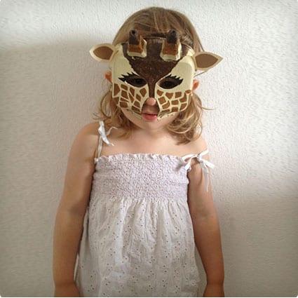 Egg Carton Giraffe Mask