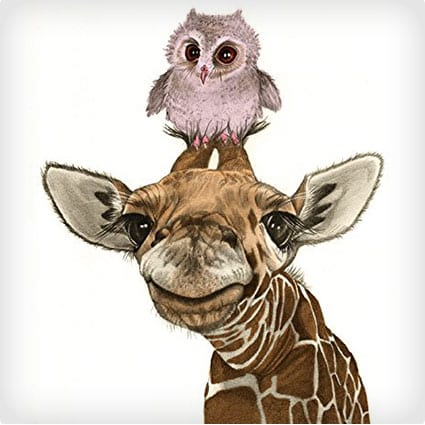 Giraffe and Owl Print