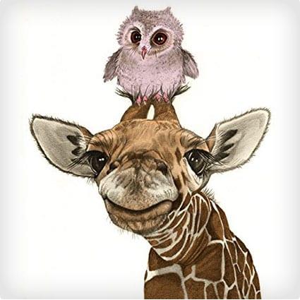 Giraffe and Owl Print