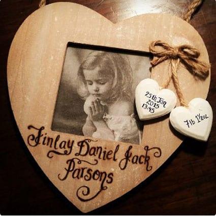 Wooden Heart Photo Frame