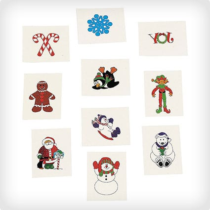 72 Christmas Holiday Temporary Tattoos