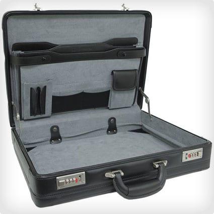 Alpine Swiss Expandable Leather Attache Briefcase