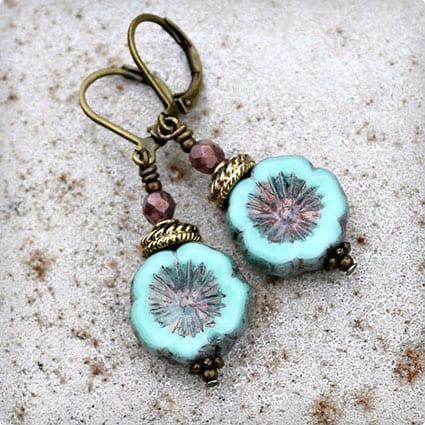 Bohemian Czech Flower Earrings