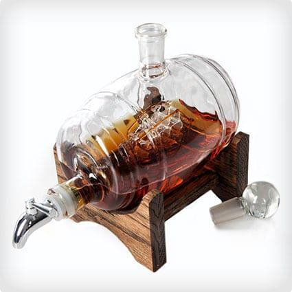 Bourbon Glass Barrel Decanter