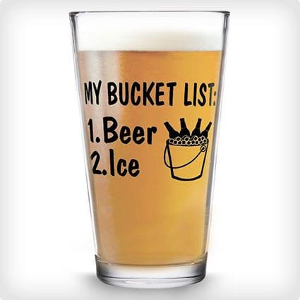 Bucket List Pint Glass