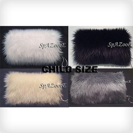 Child size fur hand muff warmer