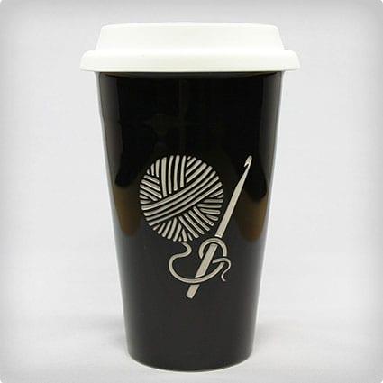 Crochet Hook Travel Mug - Black - Double Wall Ceramic Stoneware
