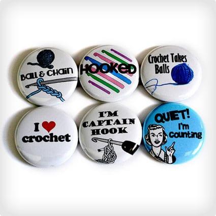 Crochet Buttons or Crochet Magnets - Great Gift for Crocheters - Funny Crochet Badges - Crochet Pins